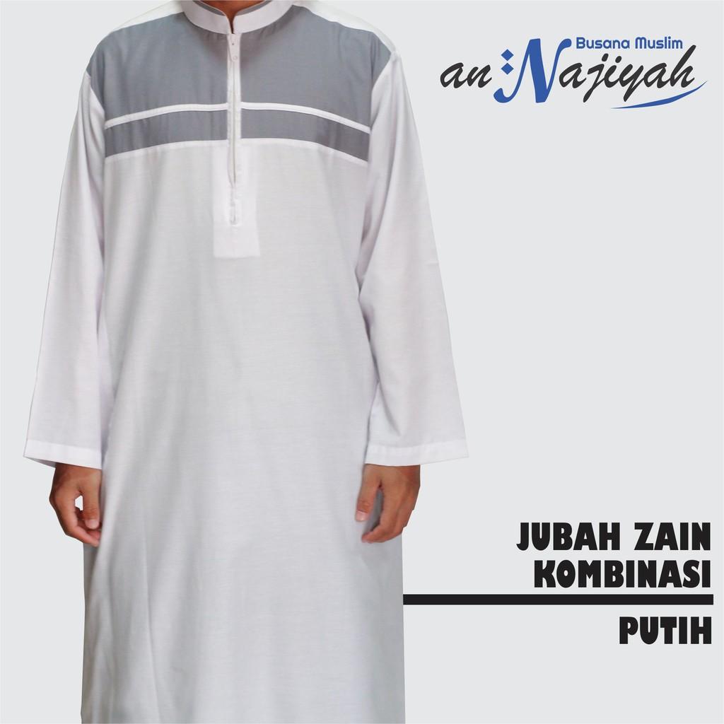 2020 Baju Jubah Pria Zain Kenzie Putih Kombinasi Polos Bahan Katun Murah
